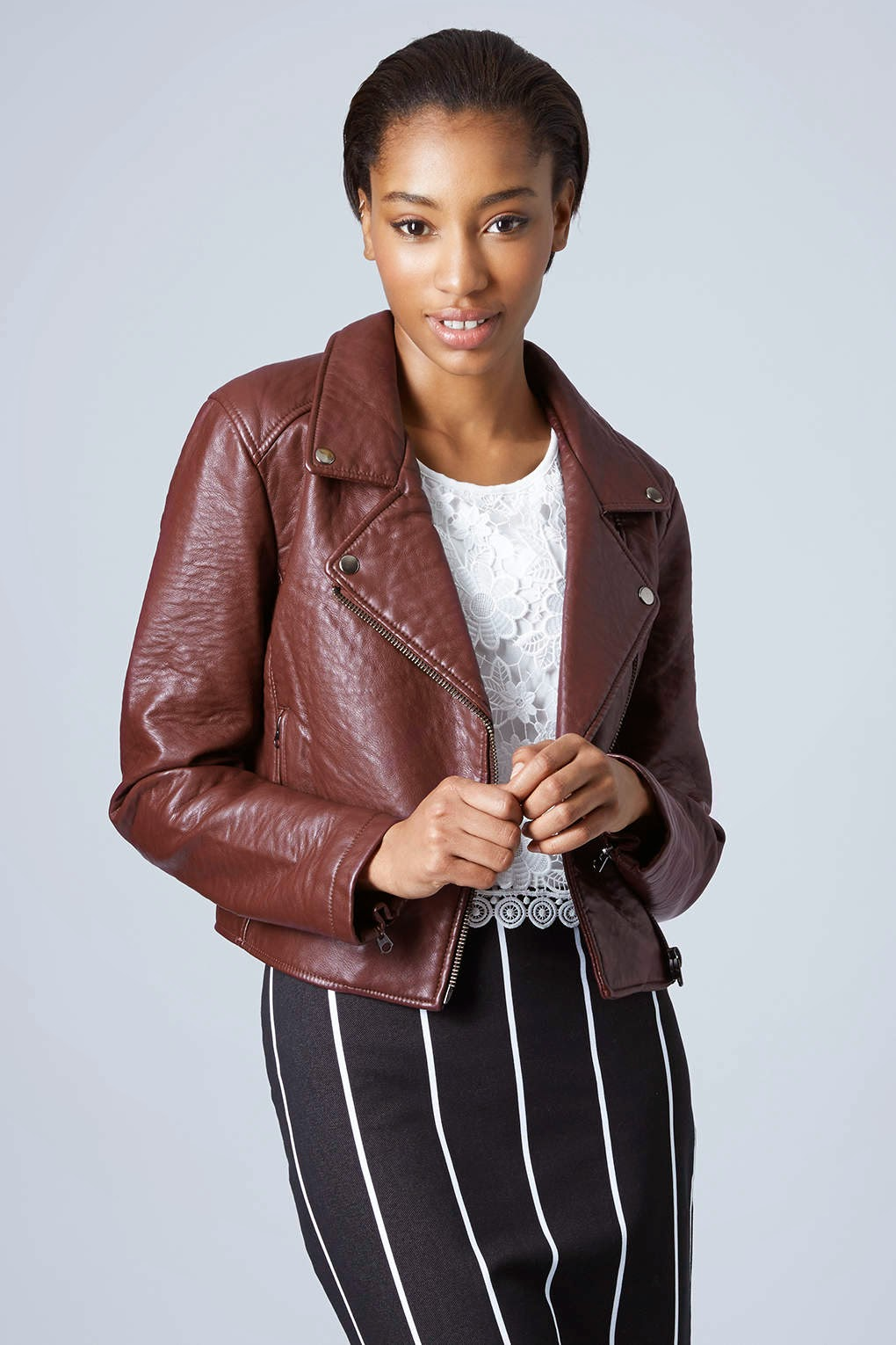 topshop burgundy leather coat