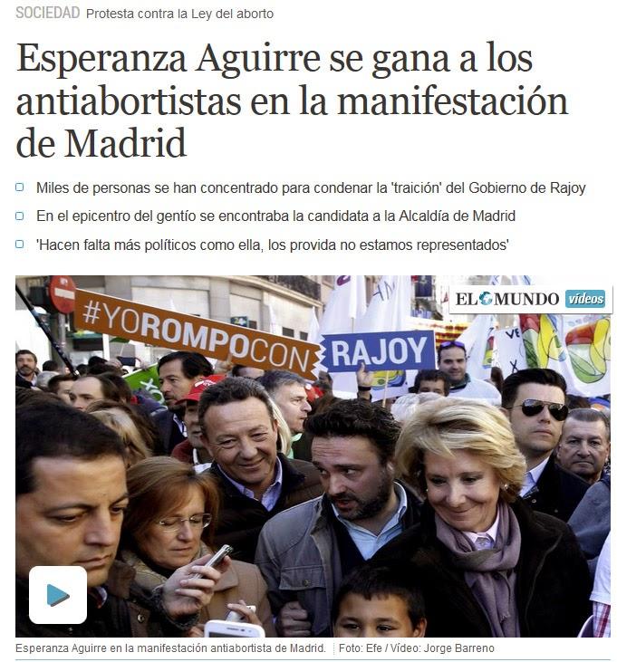 Titular: Esperanza Aguirre se gana a los antiabortistas
