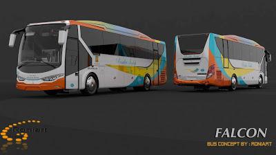 Design bus 3D Falcon PO Rosalia Indah Livery