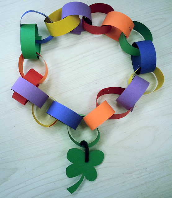 St. Patrick's Day kids crafts, patterning with beads, the rainbow song