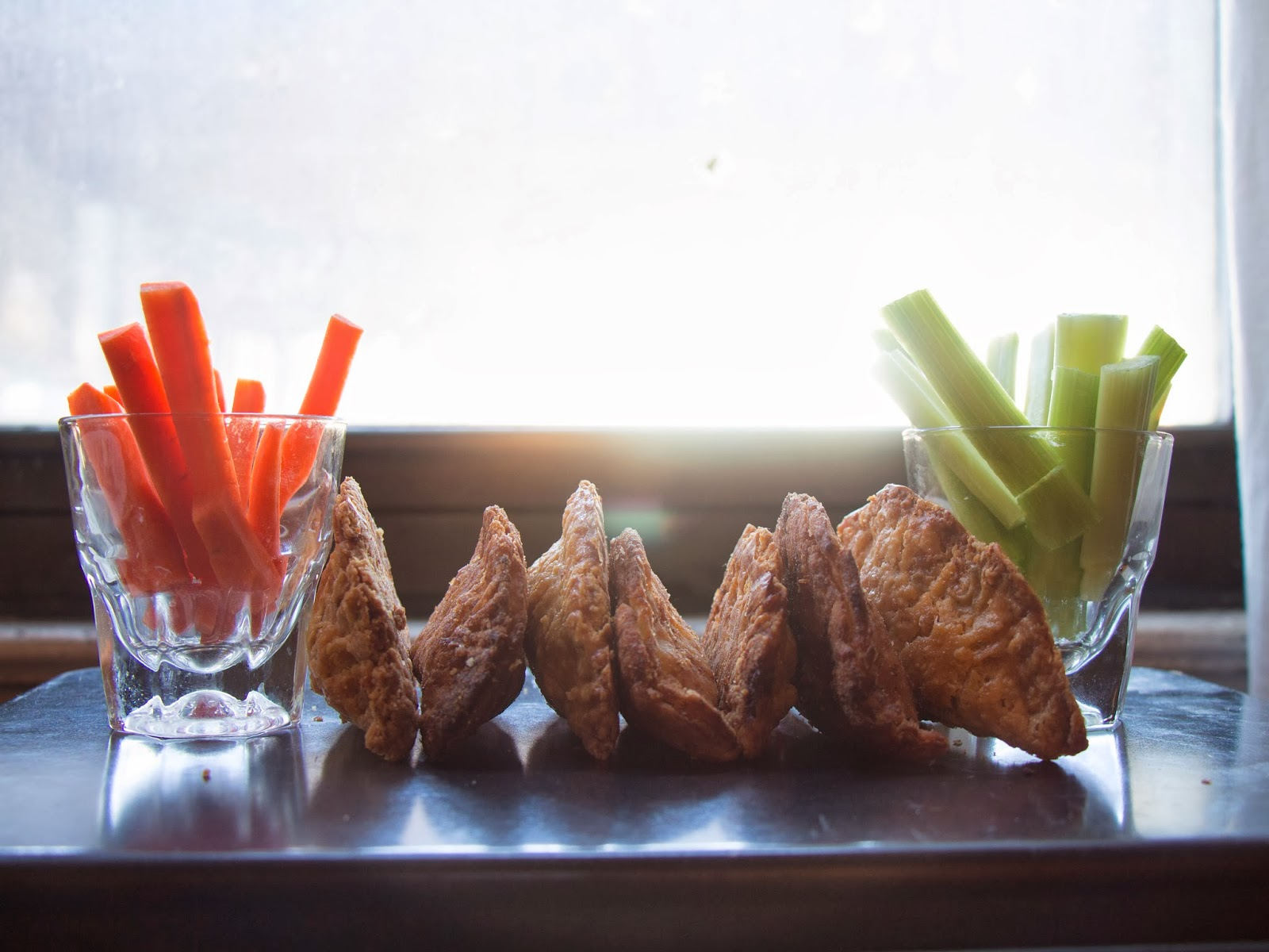 Buffalo Chicken Fried Pies with Celery and Carrot Sticks