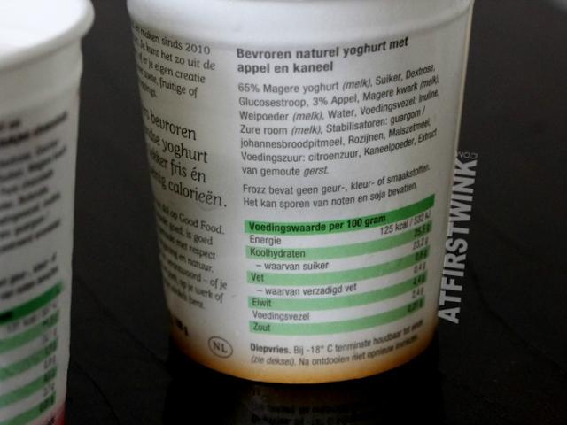 Frozz Frozen Yoghurt ingredients (apple cinnamon) appel & kaneel