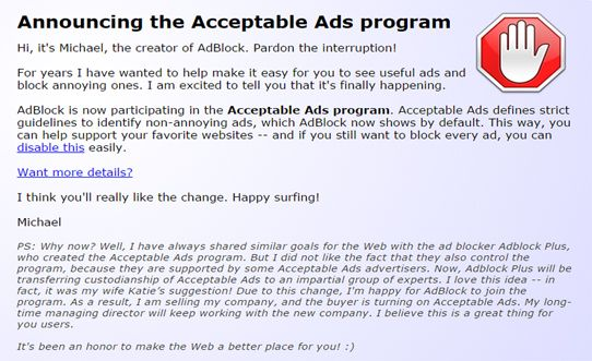 إضافة أدبلوك الخاصة بحظر الإعلانات تباع إلى شخص مجهول و بشكل سري