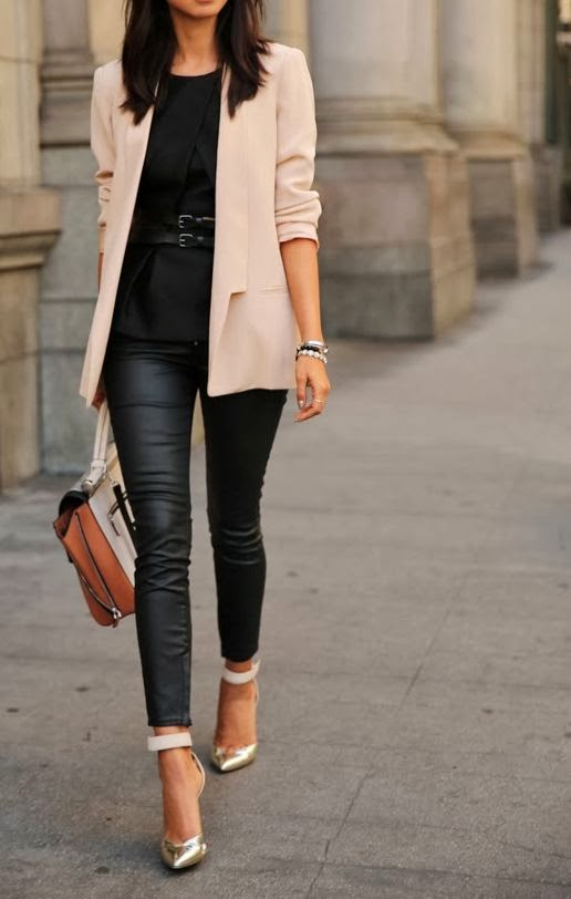 Classic neutral, black leggings, black dress and handbag