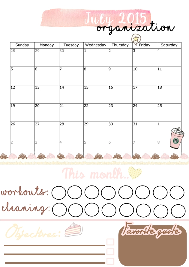 Free Monthly Organization Printables My Pastel World - Organization printables