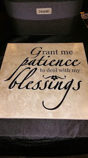 Grant Me Patience Vinyl Decal on a Tile