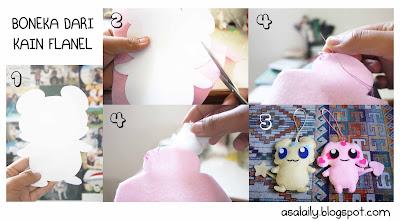 ... bagi sedikit cara membuat boneka dari kain flanel. Mudah banget. :D