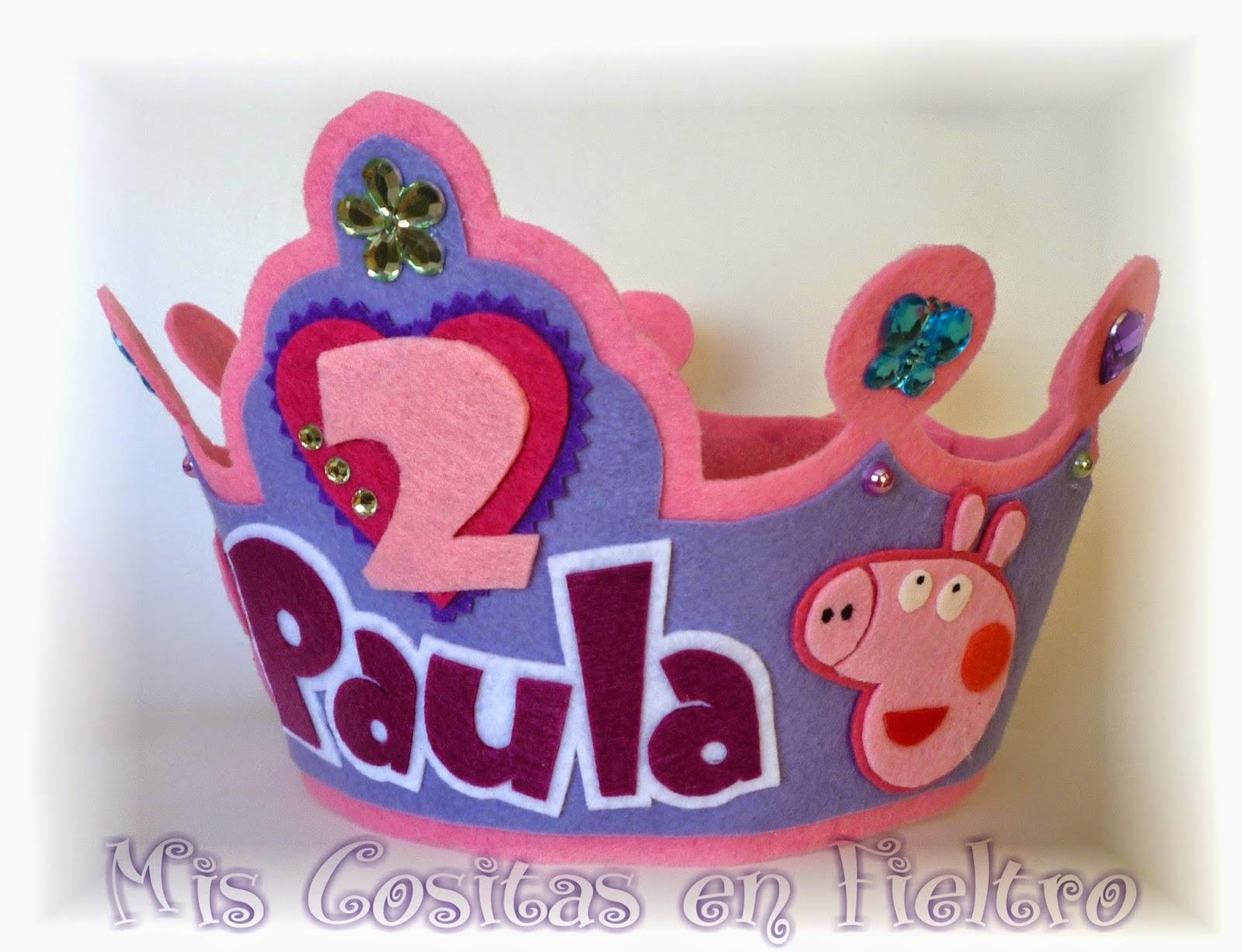 corona de cumpleaños, corona de fieltro, Peppa Pig, fiesta,