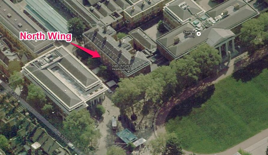 Location of North Wing of Duke of York's Headquarters.