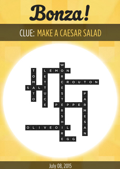 Bonza Daily Word Puzzle Clue Make a Caesar Salad Answers July 8, 2015