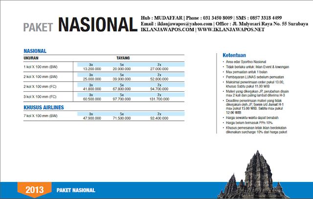 Jawa Pos Iklan Paket Nasional 2013