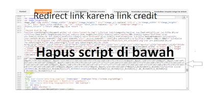 cara menghapus Credit Link dan Redirect link pada template
