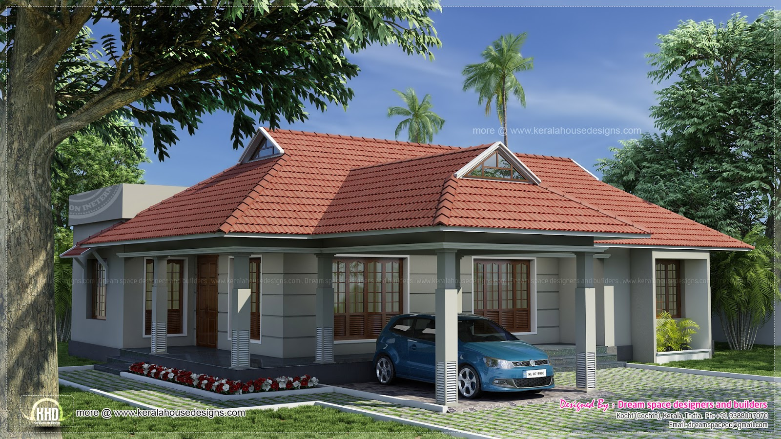Single Storey Kerala Style Traditional Villa 4 Bedrooms