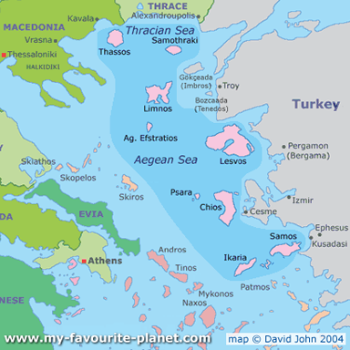 North Aegean Islands Map Province Area