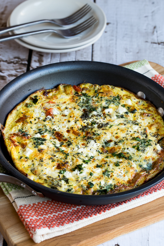 Greek Frittata with Zucchini, Tomato, Feta, and Herbs (Low-Carb, Gluten-Free, South Beach Diet) Found on KalynsKitchen.com.