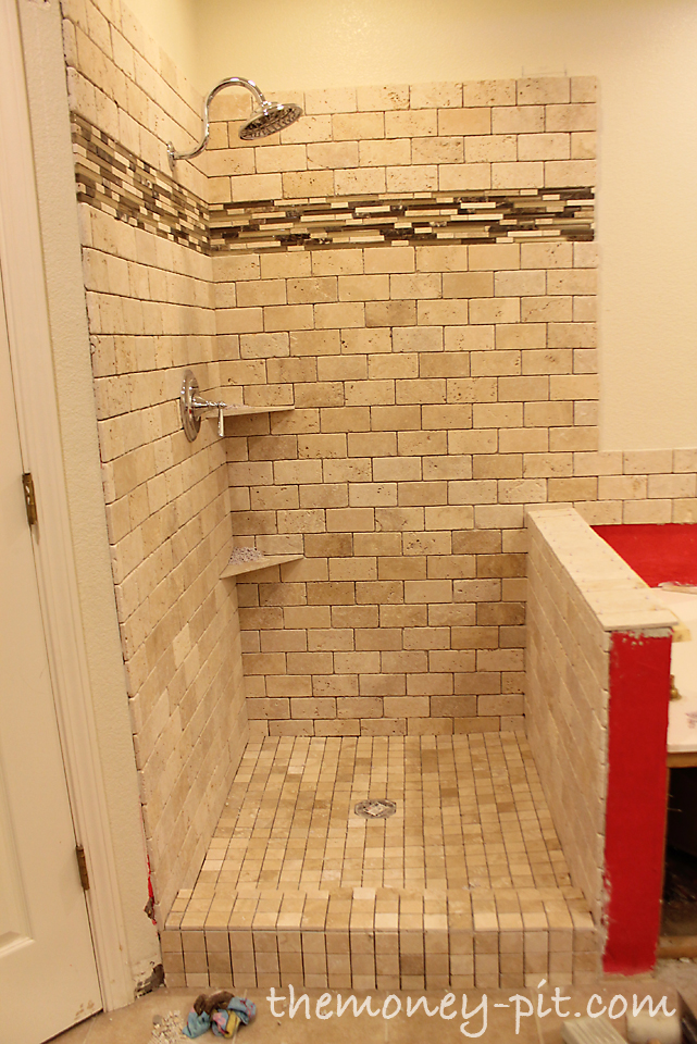 Master Bathroom Week 6: Tiling Shower Floor, Curb And Knee Wall