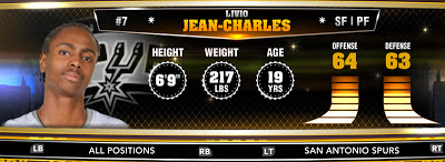 NBA 2K13 Spurs Livio Jean-Charles - Round 1 28th Overall