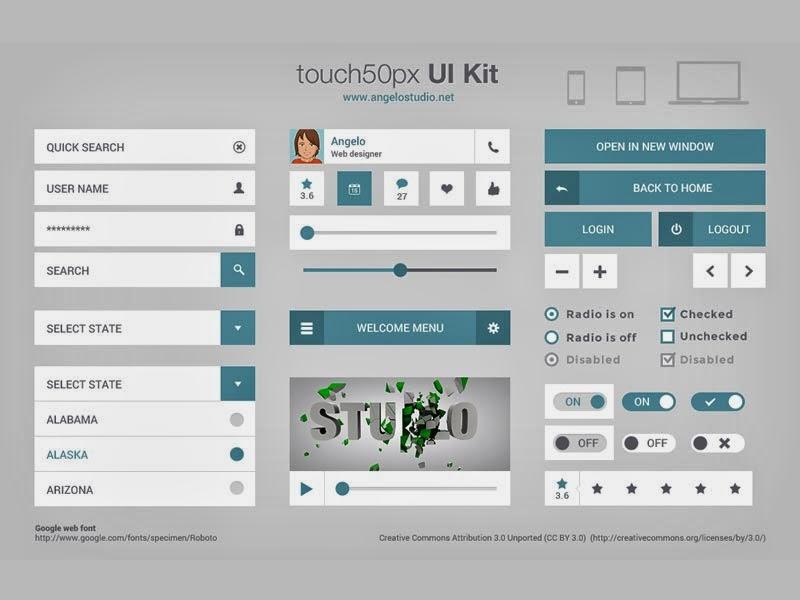 Flat Mobile UI Kit PSD