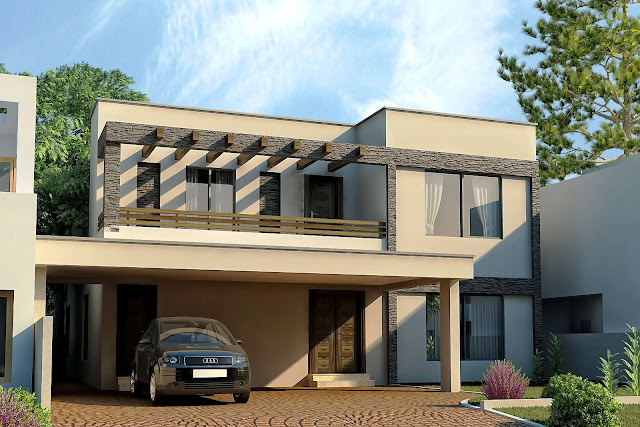 3d front dha lahore 1 kanal modern for Pakistani new home designs exterior views