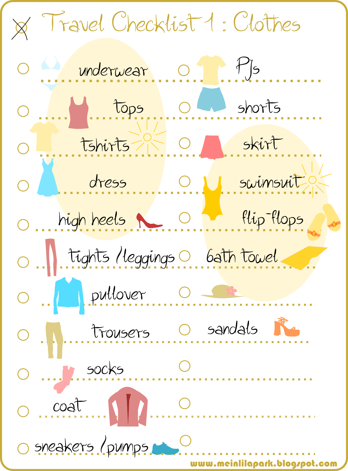 free printable travel checklist part 1 clothes colorful packing – Travel Checklist