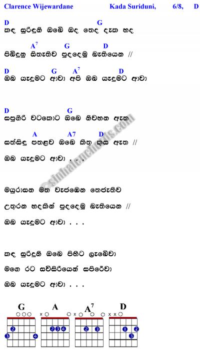 Clarence Wijewardana -Kanda Surinduni Obe (lyrics with guitar cords ...