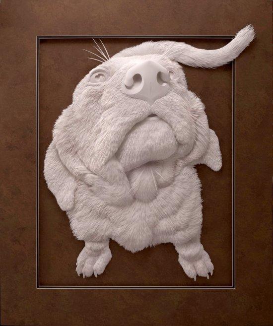 Calvin Nichols esculturas de papel 3D animais saindo do papel