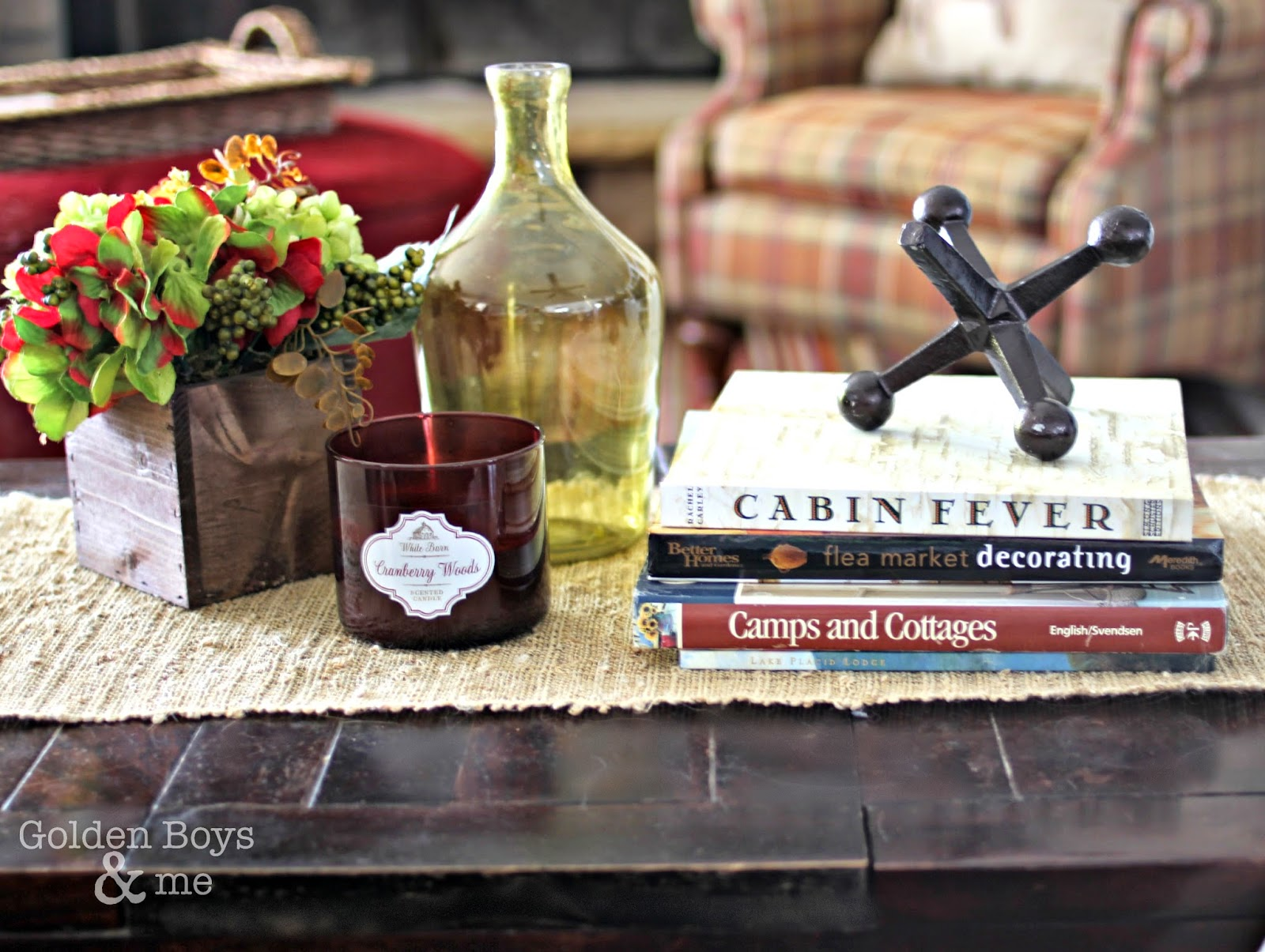 Family room coffee table vignette-www.goldenboysandme.com