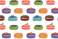 Sweet Macarons Watercolor Pattern by Haidi Shabrina
