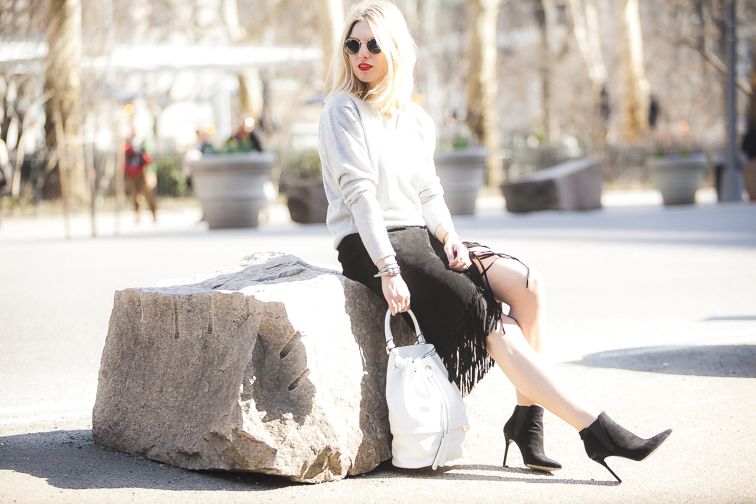 Fashion Over Reason in NYC, Luana Italy white leather Theo bucket bag, MAC Lady Danger lisptick, street style