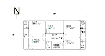 Civil engineering a 50 39 x24 39 home floor plan of a tinshed home for Home engineering plan