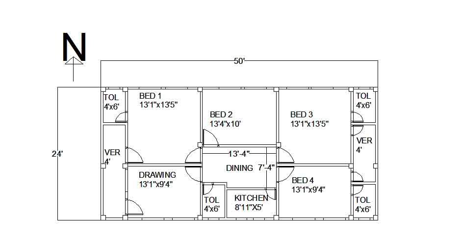 Civil engineering a 50 39 x24 39 home floor plan of a tinshed home Civil home design