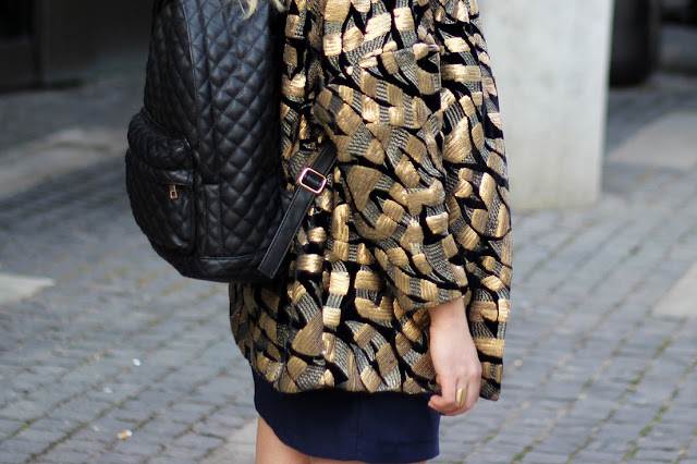 trend, sommer 2014, pailettenblazer, H&M Trend, Gold, schwarz, Maffashion, stepp rucksack, six,quilted bagpack, backpack, maritim look, modeblogger, hamburg, ootd, style, german fashionblogger,