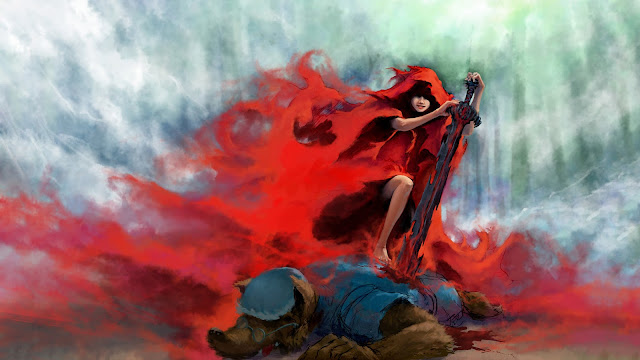little red riding hood fighting wolf sword fantasy hd wallpaper desktop pc wallpaper a65