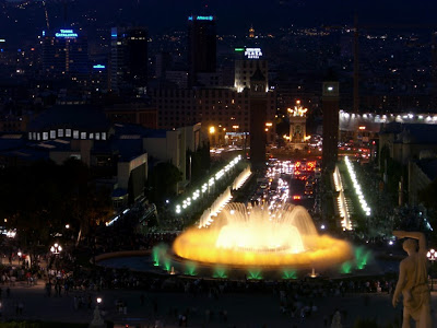 Montjuïc Magic Fountain lit at night in Barcelona