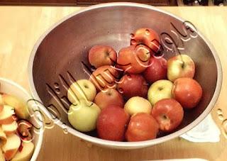 نغسل التفاح جيداً حتى نقوم بتخزين التفاح فى الديب فريزر