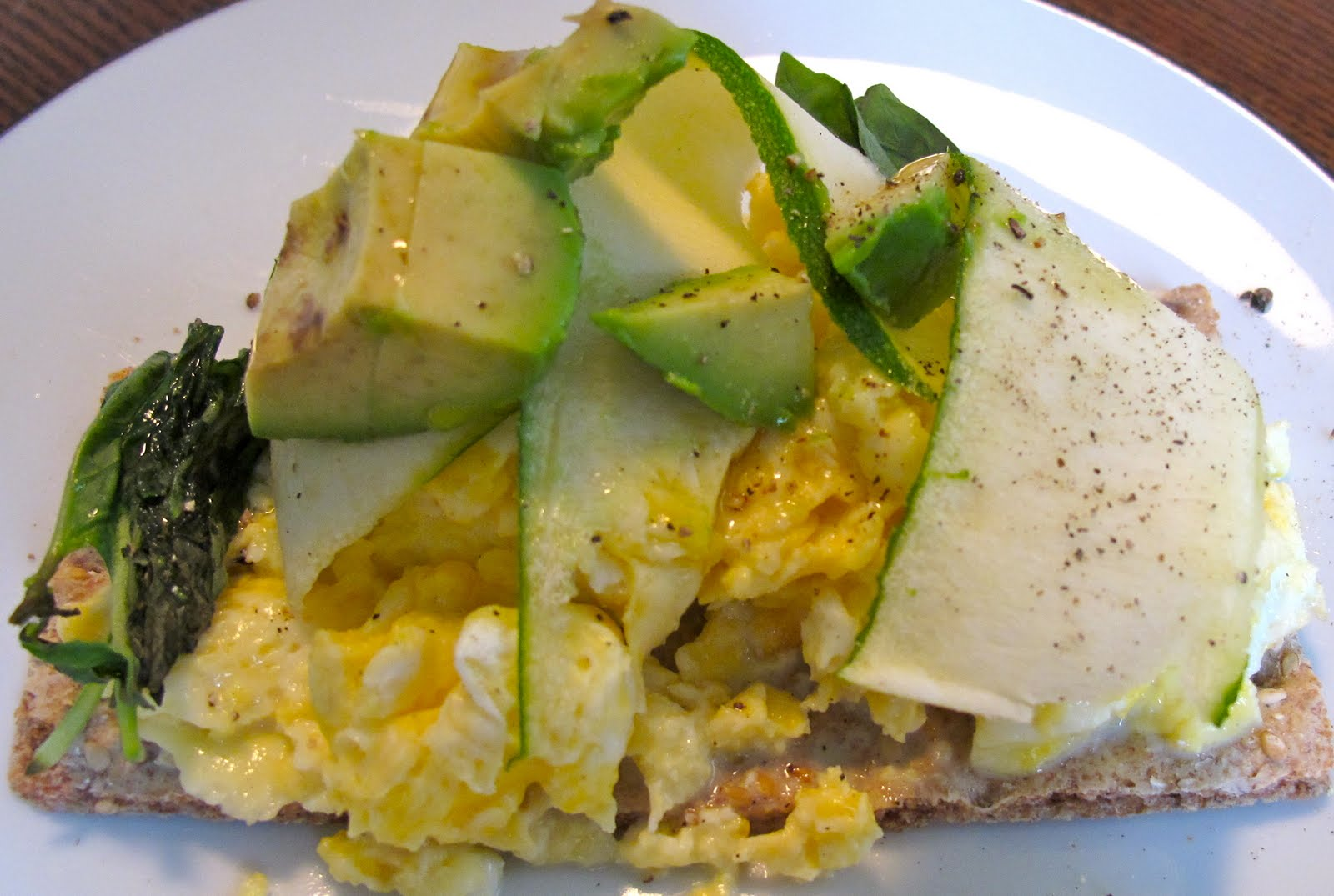 Soft Scrambled Oven-Face Egg Sandwich with Ribbons of Zucchini, Basil ...