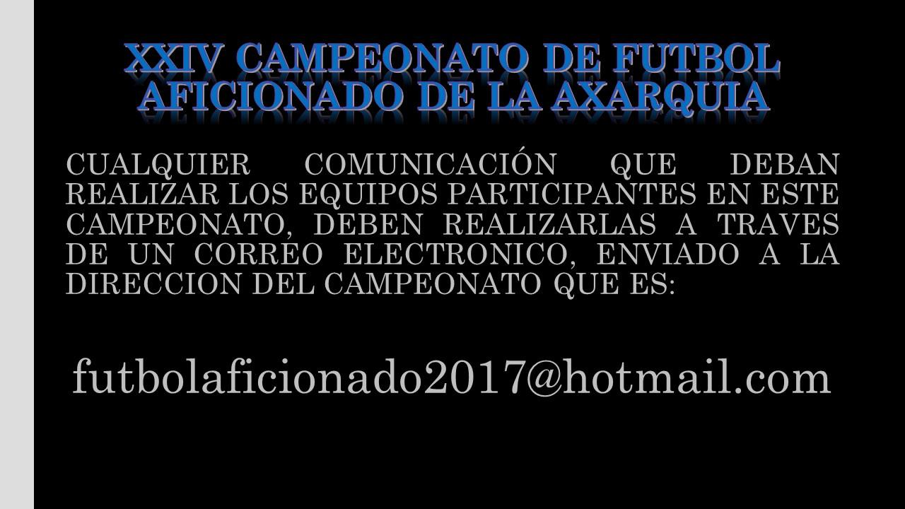 CORREO DEL CAMPEONATO DE FUTBOL AFICIONADO DE LA AXARQUIA