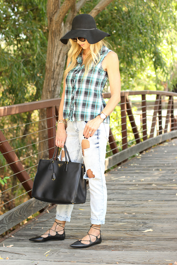 parlor girl plaid boyfriend jeans lace up flats