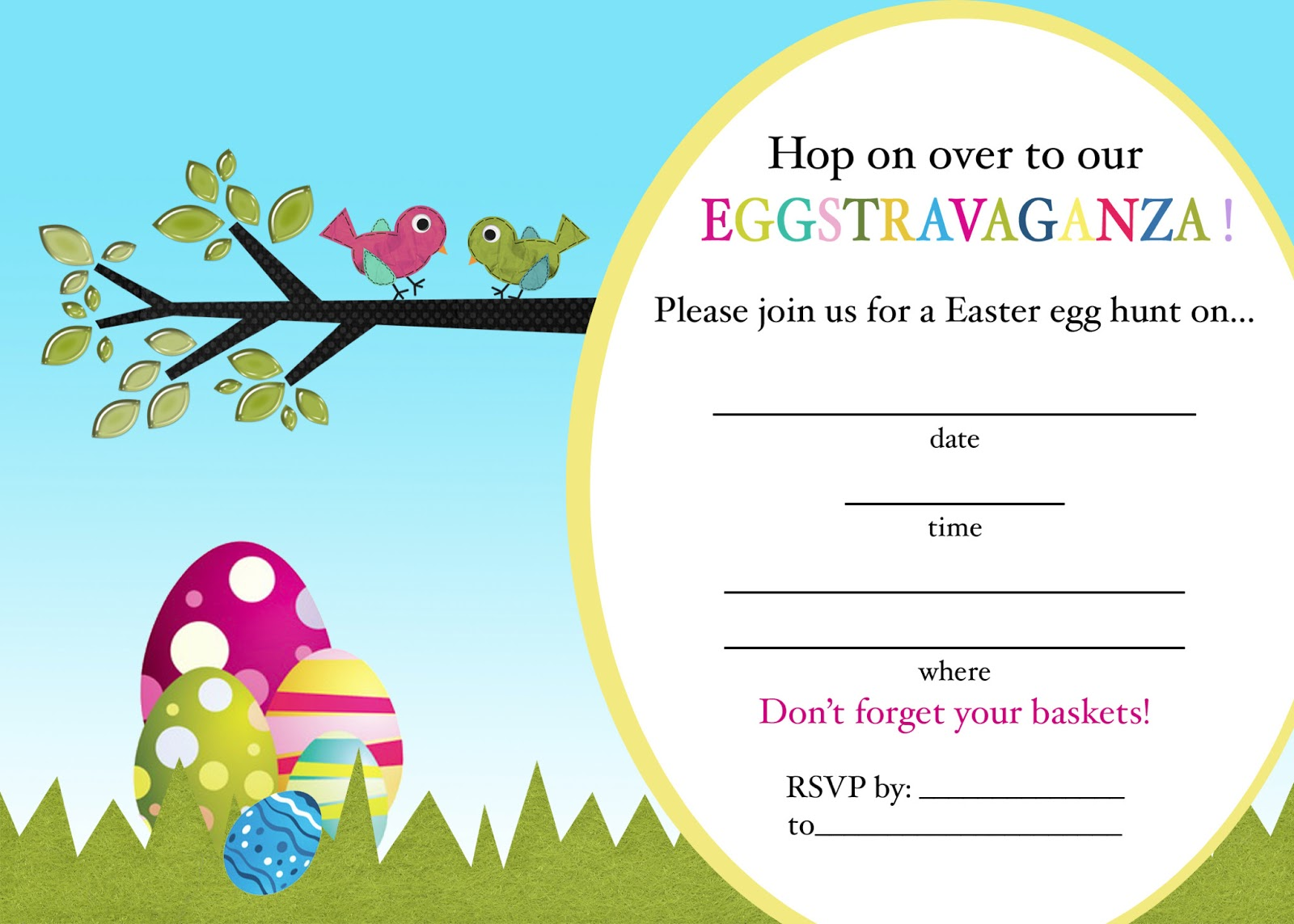 Bewitching image in easter egg hunt invitations free printable