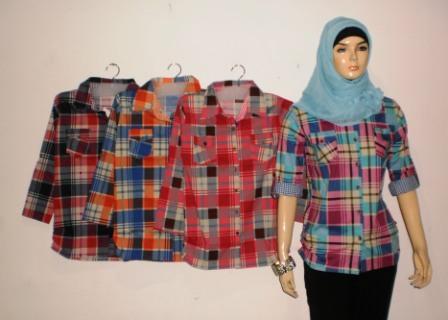 Atasan Wanita Kotak Kotak Bk0314 Grosir Baju Muslim