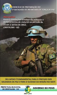 Mais de 800 militares que irão ao Haiti treinam em Cristalina
