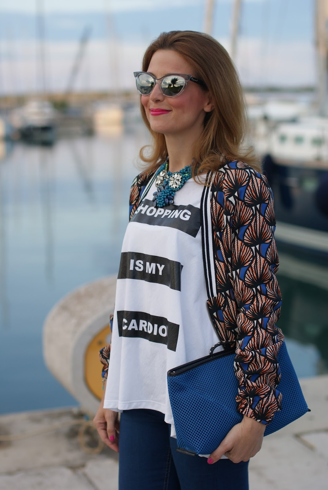 SimonaB Bijoux necklace and Pimkie jacket, quote t-shirt on Fashion and Cookies fashion blog, fashion blogger style