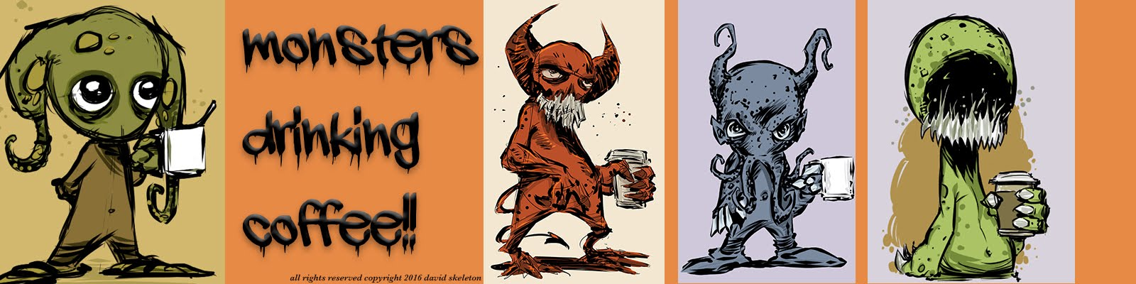 Monsters Drinking Coffee