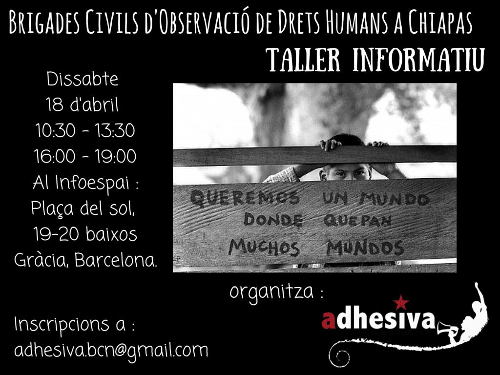 Convocatòria de taller per observador/a Drets Humans a Chiapas