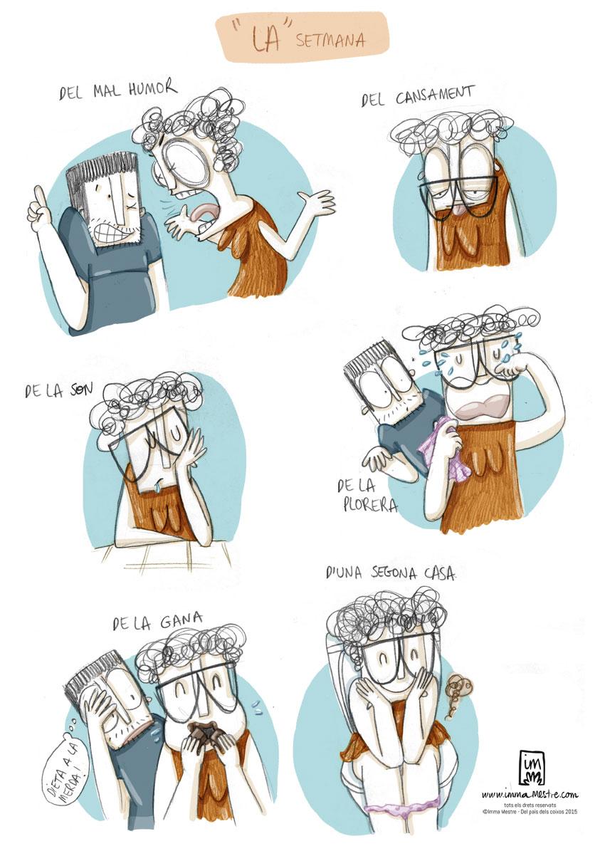 La setmana. Nova vinyeta il.lustrada pel còmic Del país dels coixos ©Imma Mestre Cunillera