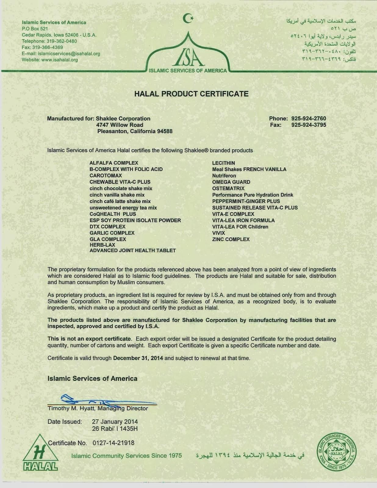 Sijil halal produk Shaklee yang dikeluarkan oleh ISA