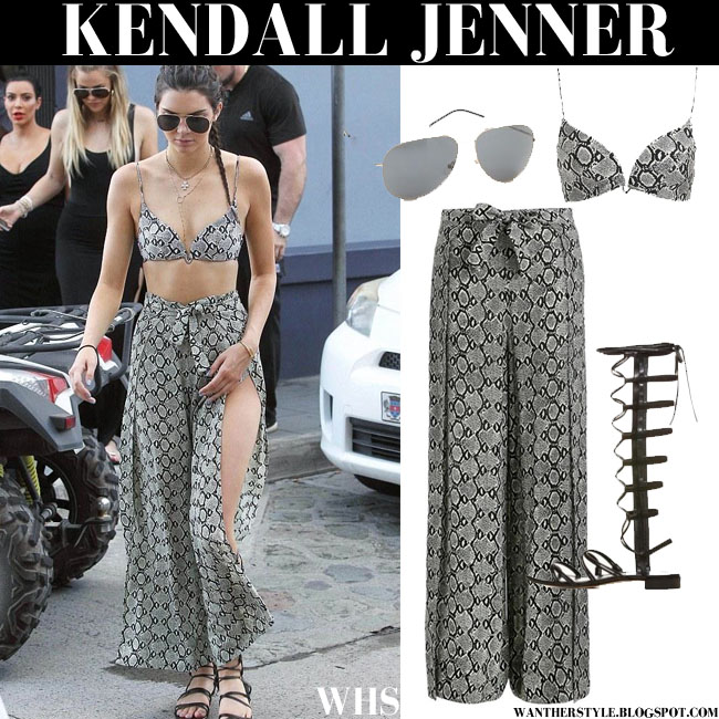 Kendall Jenner in grey snake print bikini with grey snake print wide pants st barts august 17 what she wore