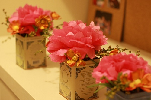 Decorating with tissue paper flowers budget floral alternative tissue paper peonies in tea tins make lovely centerpieces mightylinksfo