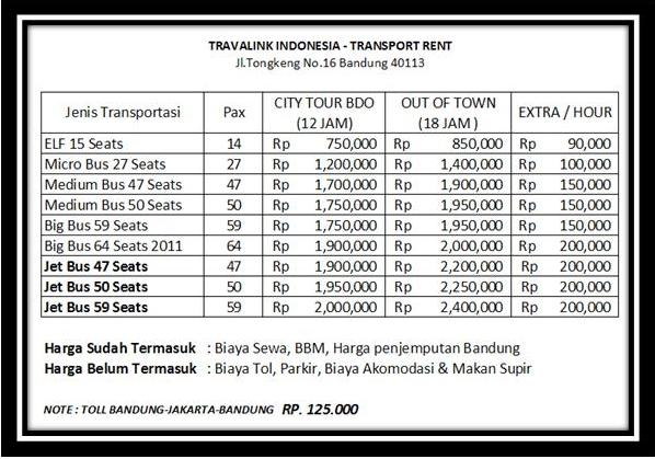Harga Sewa Bus Pariwisata Travalink Dan Transport Lainnya Travalink Tours Bandung