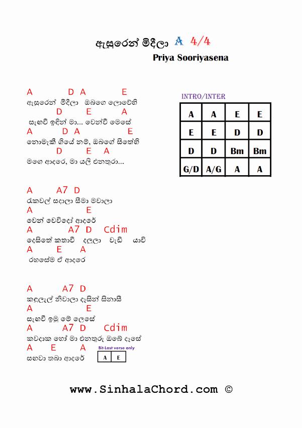 Asurin Midela guitar Chords|Sinhala Song Chords